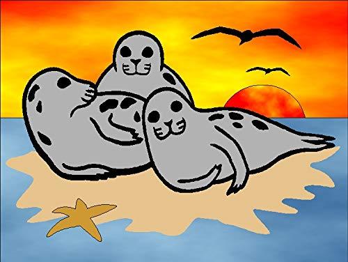 Klebefolien Sandbild OHNE Sand, 15x20cm, 440 Robben - Weitere Bastelsets erhältlich