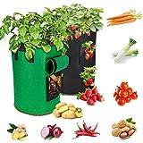 2 Pack10 galloni Sacchetto per la coltivazione di ortaggi, Sacchi per Piantedi piante Sacchetti per la coltivazione di patate Fioriere in tessuto Vasi per frutta e fiori