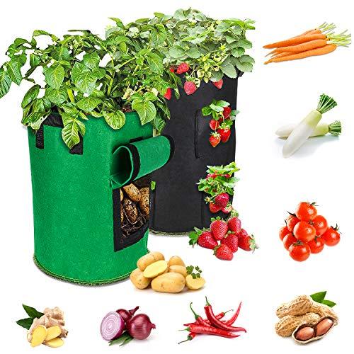10 Galones 2Pcs Bolsa de Cultivo de Plantas, Maceta de Cultivo de Patatas, para Papa,macetas para fresas, Zanahoria, Tomate y Cebolla,Doble Capa, Transpirable, no Tejida