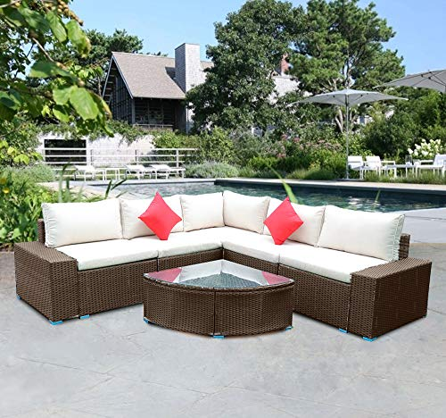Panana Rattan Furniture Set 5 Seater Lounge Wicker Sectional Corner Sofa Set with Coffee Table Garden Conservatory Outdoor Patio Poolside Brown