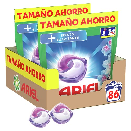 Ariel Pods Detergente Lavadora Cápsulas, 86 Lavados (Pack 2 x 43), Efecto Suavizante, Fragancia Intensa
