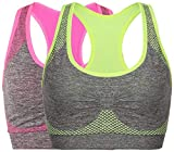 Women's Seamless Sports Bra High Impact Pocket Yoga Bras M 2 Pack