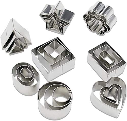 24 Pcs Mini Geometric Shaped Cookie Biscuit Cutter Rectangle Square Heart Triangle Round Tiny Circle Baking Stainless Steel Metal Molds