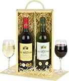 Perfectly paired Chateau Wines in Wood Hamper presented in a wooden bottle box with sliding lid and rope handle with Name-a-Rose Gift
