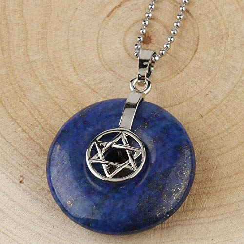 QUWE Stone Necklace,Vintage Elegant Lapis Donut Shape Pendant Silver Unisex Bead Chain Men Women Energy Balance Birthstone Gem Jewelry Gifts