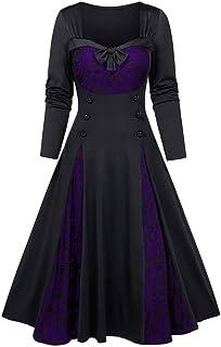 Kstare Women Steampunk Plus Size Bow Stitch Sequins Lace Insert Mock Button Swing Bowknot Dress L-5XL