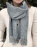 Surhilo Villa Maria Baby Alpaca Knit Scarf - Pearl Grey & White - Winter Luxury...