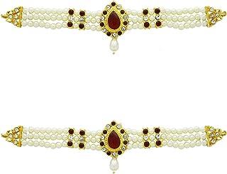 Anuradha Art Maroon Colour Traditional Hand Jewellery For Ganpati Bappa  Murati Sajawat