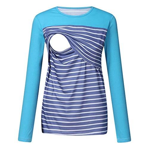 Blouse Shirt Maternité,SANFASHION Enceintes Allaitement Rayé Casual Slim Blouse Tops Shirt Col V Manches Longues Tops Shirt Grossesse Élégant