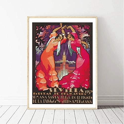 AJleil Puzzle 1000 Piezas Cuadro Pintura Moderna España Vintage Viaje Pintura Puzzle 1000 Piezas paisajes Gran Ocio vacacional, Juegos interactivos familiares50x75cm(20x30inch)