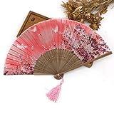 JIAWEIDAMAI - Abanico de mano plegable de seda con borla decorativa.