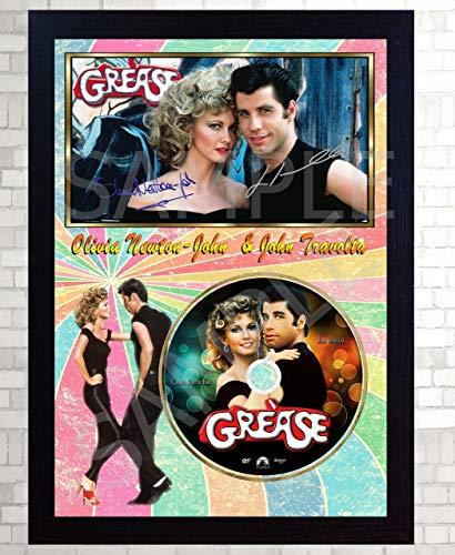 SGH Olivia Newton-John Grease John Travolta Firmado Enmarcado Foto CD película de Disco