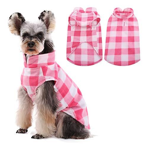 Kuoser - Cappottino classico in velluto a quadri, caldo gilet per animali domestici, con foro per cintura per cani e gatti di piccola taglia, maglione per cucciolo di orsacchiotto Chihuahua Yorkshire