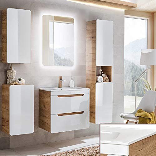 Lomadox Badmöbel Komplett Set, Hochglanz weiß mit Wotaneiche, 60cm Waschtisch-Unterschrank mit Keramik-Waschbecken & LED-Spiegel