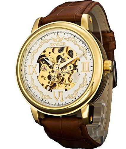 Sewor Crusader Reloj mecánico de Pulsera de Esqueleto de Viento mecánico para Hombre con Estuche de Cuero (Oro & Blanco)