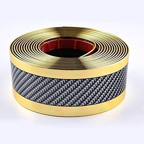 Yiwa Gietijzeren band van rubber van koolstofvezel voor autodeurrand en bumperbekleding, om te knutselen, beschermingsdrempel Or bilatéral 2,5 m 5 cm