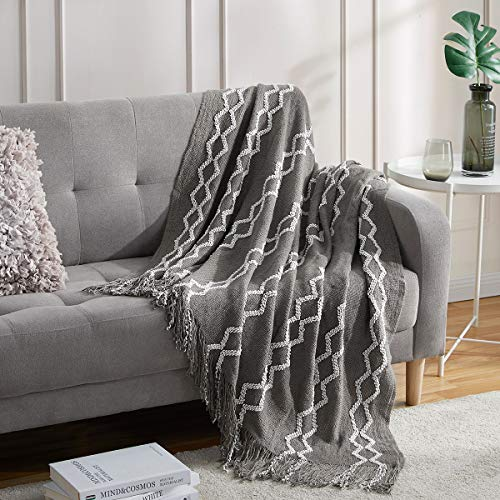 BOURINA Fluffy Chenille Knitted Fringe Throw Blanket Lightweight Soft Cozy for Bed Sofa Chair Throw Blankets, Grey 50 x 60
