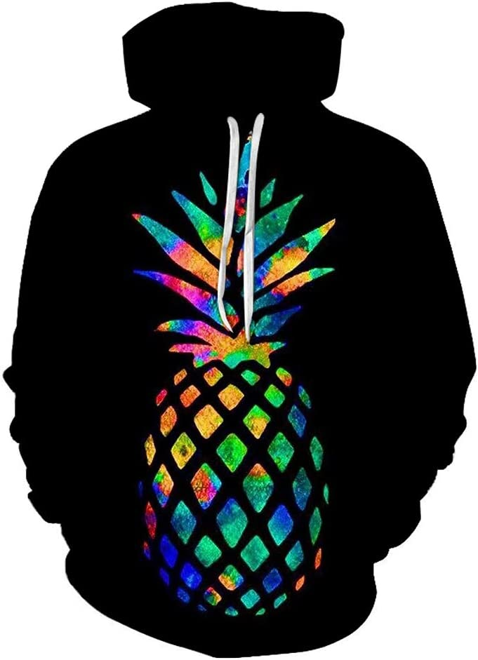 MNmkjgfgj 3DPullover 3D Pineapple Breathable Outwear Trendy Casual Pullover Trendy Men (Color : A01, Size : X-Large)