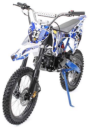 Kinder Jugend Crossbike Enduro Motocrossbike 125cc 4Takt Motocross Motorrad Cross 84cm Sitzhöhe für Jugendliche 17 Zoll Vorderrad (Blau)