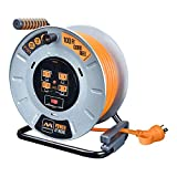 Masterplug Heavy Duty Metal Cord Reel with 4-120V 15amp Integrated Outlets and 12 Gauge High Visibility Cord (100ft)