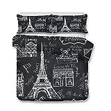 Juego de Ropa de Cama, Morbuy 3D Romance Paris Torre Eiffel Impresión Microfibra Juego de Fundas de Edredón Incluye Funda Nórdica y Funda de Almohada (Cama 135/140-180x220cm,Moda Negro)