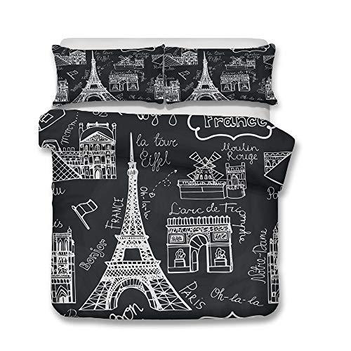 Juego de Ropa de Cama, Morbuy 3D Romance Paris Torre Eiffel Impresión Microfibra Juego de Fundas de Edredón Incluye Funda Nórdica y Funda de Almohada (Cama 90-150x200cm,Moda Negro)