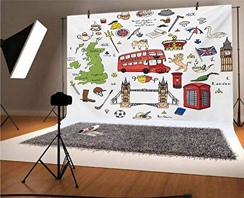 Travel 8x6 FT Vinyl Backdrop PhotographersHand Drawn Famous Tourist Places Big Ben London UK British Monuments Illustration Background for Party Home Decor Outdoorsy Theme Shoot Props
