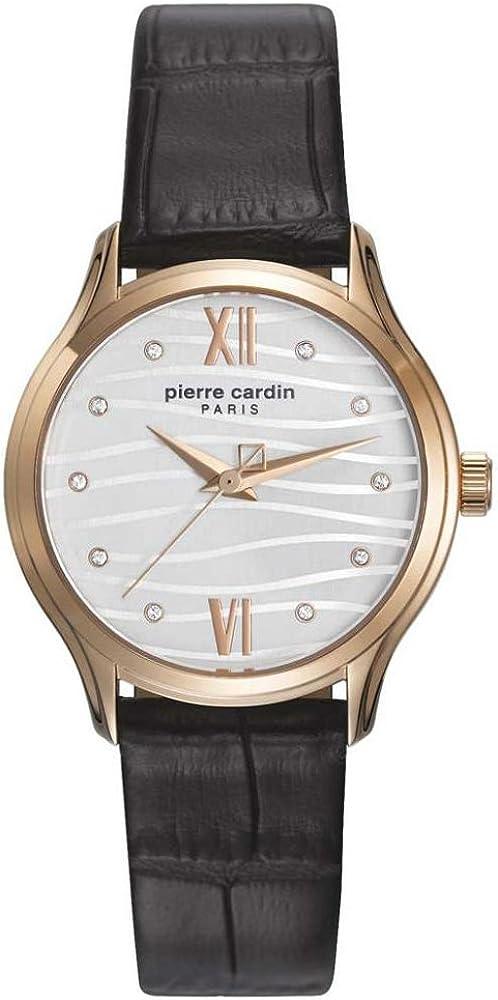 Pierre cardin,orologio per donna,con cassa in acciaio inossidabile e cinturino in pelle PC108162F09