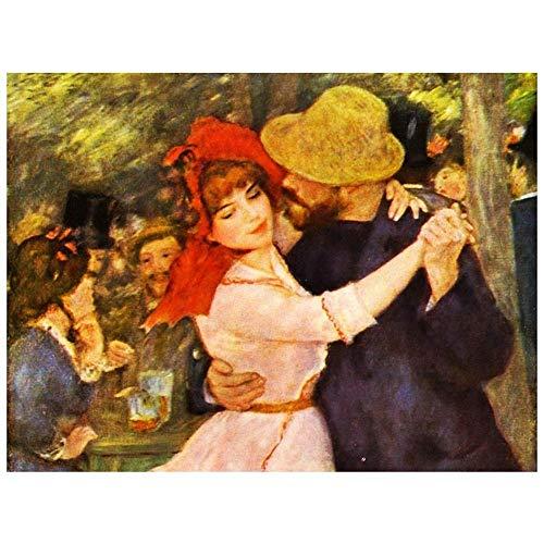 LegendArte Pierre Auguste Renoir Ballo a Bougival (Dettaglio) Stampa su Tela, cm. 60x80 - Quadro su Tela, Decorazione Parete