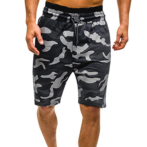 MYONA Pantalones Cortos Hombre Casual, Verano Camuflaje Patalón Corto Algodón Slim Fit Elástico con Bolsillos para Hombre Pantalones Cortos de Playa Moda Casual