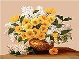 Pintar por numeros,Hermosas flores en macetas, Pintura al óleo de DIY por Números para Adultos, Lienzo Regalo de Pintura para, Decoración del Hogar40X50 CM Sin Marco