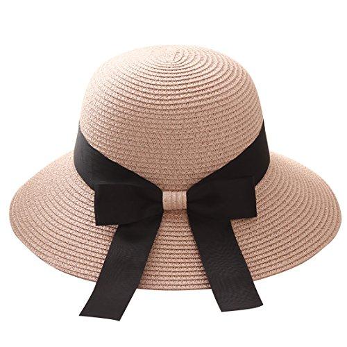 Flying Rabbit Damen Sonnenhüte Faltbarer Strohhut mit Sonnenschutz Breite Krempe (Style-1-Light pink)