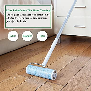 UNIKON 801 Lint Roller Sticky Roller Pet Hair Roller, Long Handle Sticky Mop With 4-Foot Extendable Handle&30 Sheets Roller