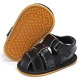 Infant Baby Boys Girls Summer Sandals PU Leather Rubber Sole Toddler First Walker Shoes(0-18 Months) (6-12 Months M US Infant, H-Black)