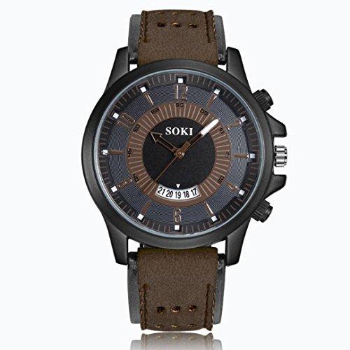 cinnamou Herrenuhren - Herren Analoge Quartz Uhren mit Silikagel Lederband – Mode Armbanduhr mit Datum Kalender, Männer klassische Casual Sports Uhren für Herren (Braun)