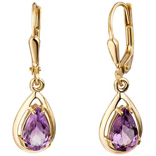 JOBO Damen-Ohrhänger aus 333 Gold mit Amethyst Tropfen