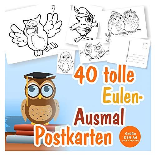 40 coole Postkarten zum Ausmalen mit Eulen, für Kinder ab 3 Jahren. 40 verschiedene Eulen-Motive. Tolle selbstgestaltete Postkarten für Mädchen und Jungen zum Verschicken!