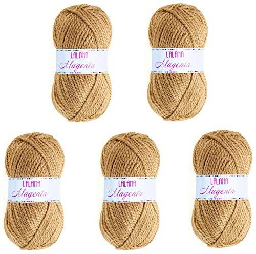 Hilo de Acrilico Ovillo de Lana para Tejer Crochet Ganchillo o Punto Torrijo MAGENTA 100g, Ovillo de Lana Suave Acrílica para Tejer   5 Unidades, Color 1507-CAMEL