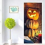 zhengboasd 3D Halloween Kürbis Licht Tür Aufkleber Tapete PVC Wasserdicht Selbstklebende Wohnzimmer Tür Dekor Aufkleber Abnehmbare 3D Wandbild 100x215cm