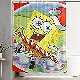 LIUYAN Duschvorhang mit Haken – Weihnachts-Spongebob-Wasserdichter Polyester-Stoff für das Badezimmer Deko, 152,4 x 182,9 cm