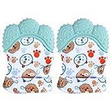 2er Pack Kinderzahnhandschuhe für Babys, Handschuhe Beißringspielzeug, lebensmittelecht (BPA-frei), waschbarer und langlebiger Beißhandschuh Baby verhindern Kratzer Schutzhandschuhe (grün)