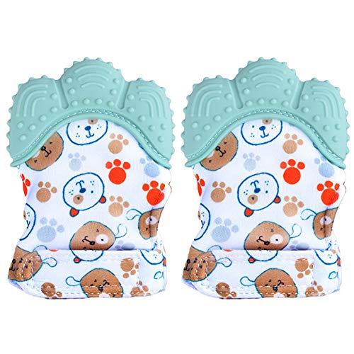 Paquete de 2 manoplas de dentición para bebés BPA lavables y duraderas manoplas de dentición para bebés guantes de protección para evitar arañazos (verde)