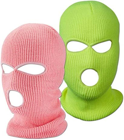 Funny Winter Knitted Cover Mask 3 Hole Outdoor Sports Ski Face Mask Knitted Warm Mask Pink Yellow product image