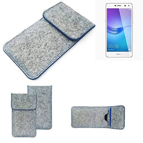 K-S-Trade Handy Schutz Hülle Für Huawei Y6 (2017) Single SIM Schutzhülle Handyhülle Filztasche Pouch Tasche Hülle Sleeve Filzhülle Hellgrau, Blauer Rand