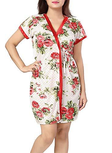 Lovira Floral Women Robe & Lingerie Set / 1 Robe, 1 Bra & 1 Panty - Red - Free Size