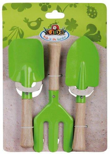 Esschert Design - Set di 3 Attrezzi da Giardino per Bambini, Colore: Verde