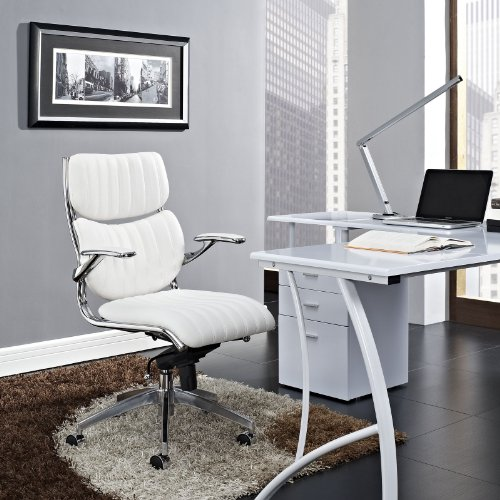 Modway Escape Ribbed Faux Leather Ergonomic Swivel Office Chair...