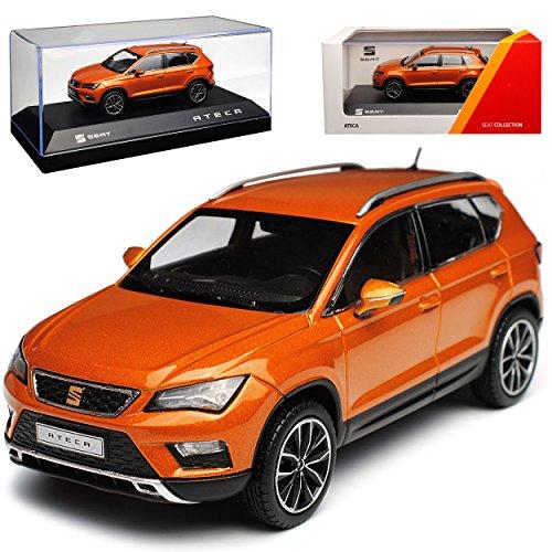 PremiumX Seat Ateca SUV Samoa Orange Ab 2016 1/43 Modell Auto mit individiuellem Wunschkennzeichen