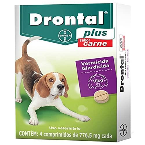 Vermífugo Bayer Drontal Plus Sabor Carne para Cães de até 10kg - 4 Comprimidos