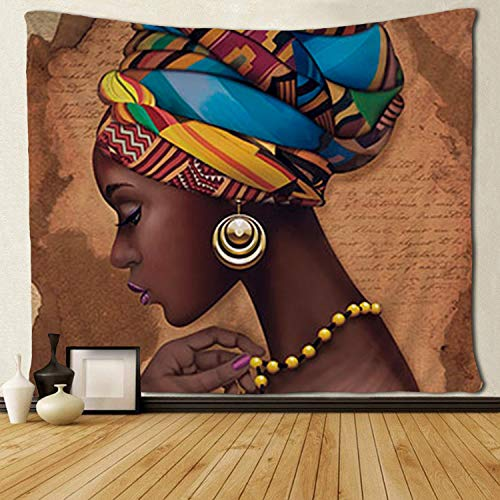 """SARA NELL Tapestry Art Girls Traditional African Women Black Tapestries Wall Art Hippie Bedroom Living Room Dorm Wall Hanging Throw Tablecloth Bedspread(50""""¡Á60"""